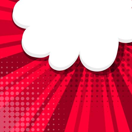 dialog balloon: Blank red comic balloon template. Comic speech bubbles halftone dot background style pop art. Comic text dialog empty cloud pop art. Creative idea conversation comic background sketch explosion