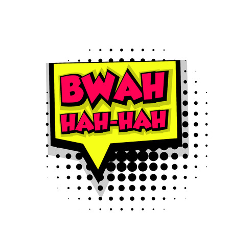 Lettering bwah hah. Comic text sound effects pop art style vector. Sound bubble speech phrase comic text cartoon balloon expression sounds illustration. Comic text background. Comics book balloon
