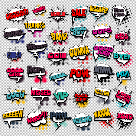 exclusive collection: Big set colored comic text sound effects pop art style. Collection vector bubble icon speech phrase, cartoon exclusive font label tag expression, sounds illustration background. Comics book balloon
