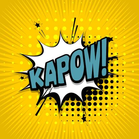 kapow: Lettering kapow. Comic text sound effects. Vector bubble icon speech phrase, cartoon exclusive font label tag expression, sounds illustration. Comics book balloon Illustration