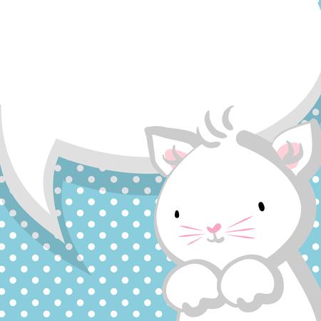 meow: White cute little kitty baby blue backdrop