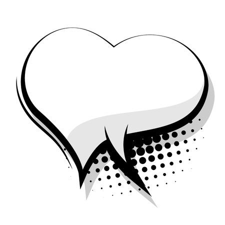 Blank comic speech heart bubble sudden