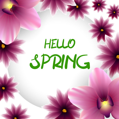 lillac: Hello spring frame lillac flower orchid Illustration
