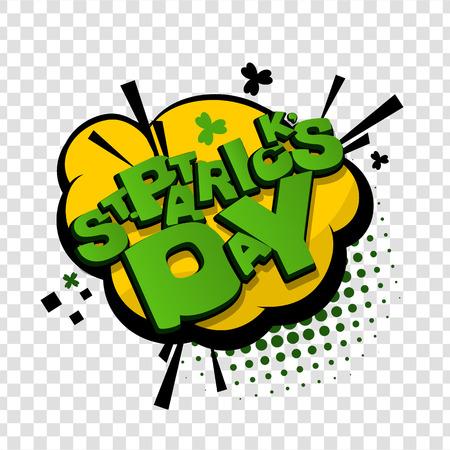 patrick: Comic cartoon text St Patrick Day.