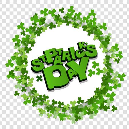White frame lettering St Patrick Day green clover
