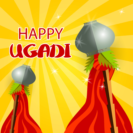 Happy Gudi Padwa grey pot and red flag