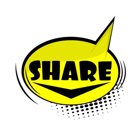 Comic text web share Illustration