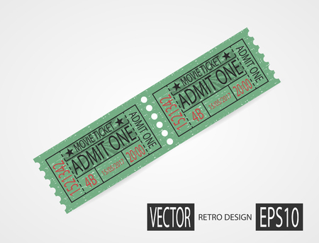 Retro cinema tickets design green Illustration