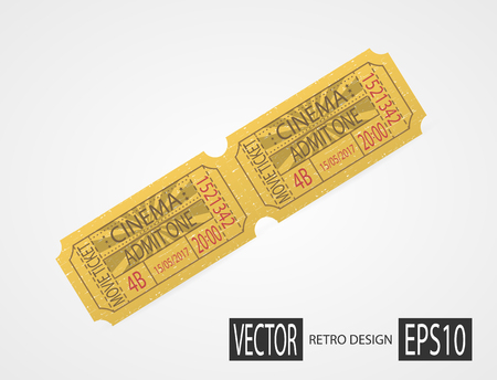 Retro cinema tickets design yellow Illustration