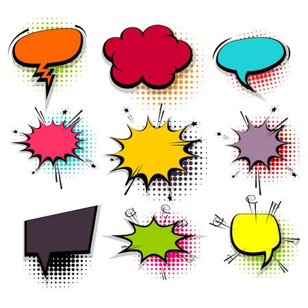 Funny set colored comic speech bubbles