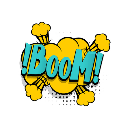 Lettering boom explosion. Comics book balloon. Bubble icon speech phrase. Cartoon exclusive font label tag expression. Comic text sound effects. Sounds vector illustration. Иллюстрация
