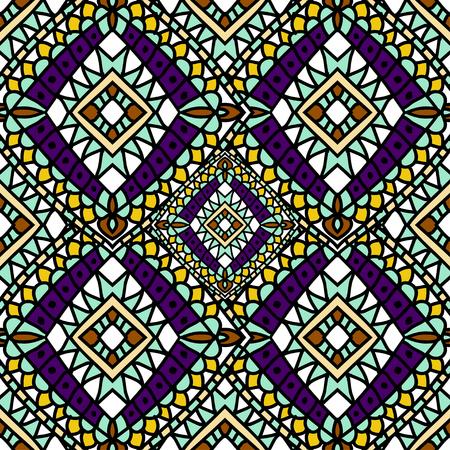 pattern: Green purple Autumn ethnic seamless pattern