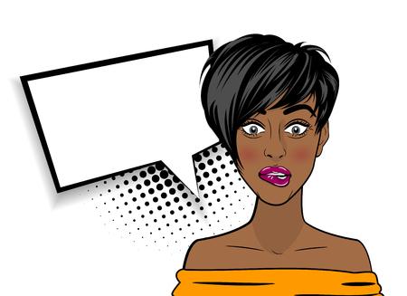 Pop art shocked sexy African American black woman Illustration