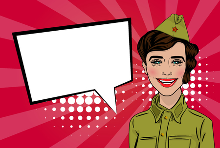 garrison: Happy Victory Day card. Russian girl cartoon comic pop art in uniform greetings veterans. Red star on garrison cap. Vector illustration red sunbeam background. Empty speech bubble banner for text.