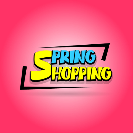 Comic text speech bubble. Spring shopping sale advertising web label badge. Vector illustration best price and discount. Special offer tag colored paper banner for print. Sticker rates.