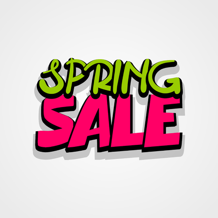 hassle: Spring sticker rates. Comic text font lettering. Sale advertising web label badge. Vector illustration best price and discount. Special offer tag colored paper banner for print.