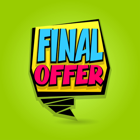 discount banner: Final offer sale advertising web label badge. Comic text bubble. Vector illustration best price and discount. Special tag colored paper banner for print. Summer, Spring, Winter sticker rates.