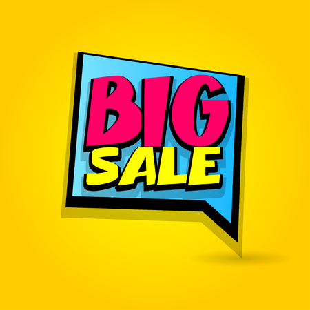 Big sale advertising web label badge. Comic text speech bubble. Vector illustration best price and discount. Special offer tag colored paper banner for print. Summer, Winter sticker rates. Ilustrace