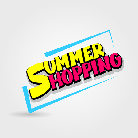 Summer shopping sale advertising web label badge. Comic text speech bubble. Vector illustration best price and discount. Special offer tag colored paper banner for print. Sticker rates. Ilustrace