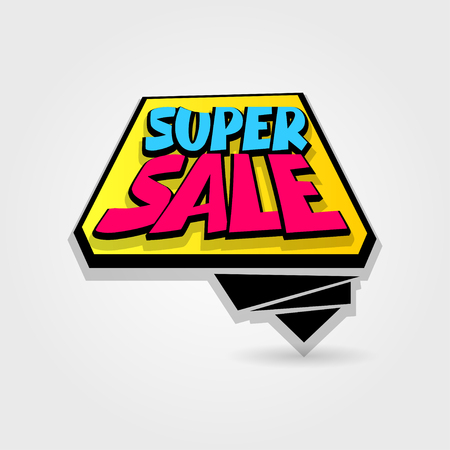 Super sale advertising web label badge. Vector illustration best price and discount. Comic text bubble. Special offer tag colored paper banner for print. Summer, Spring, Winter sticker rates. Ilustrace