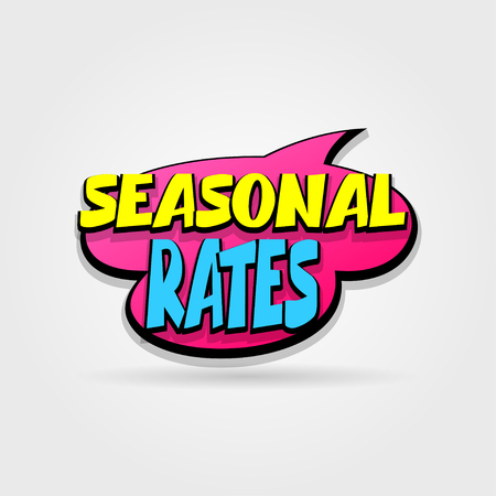 hassle: Seasonal rates sale advertising web label badge. Comic text speech bubble. Vector illustration best price and discount. Special offer tag colored paper print banne. Summer, Spring, Winter sticker.