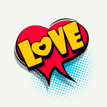 Lettering love, heart. Comics book balloon. Bubble icon speech phrase. Cartoon font label tag expression. Comic text sound effects. Sounds vector illustration.