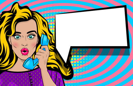 Pop art talk hold hand retro phone cartoon woman