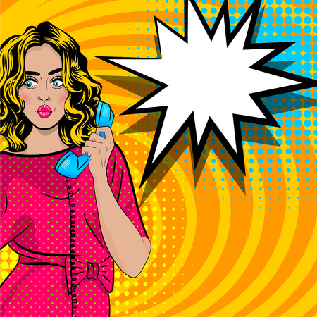 Pop art, dessin animé, femme, conversation, tenir, main, rétro, téléphone Banque d'images - 77921126