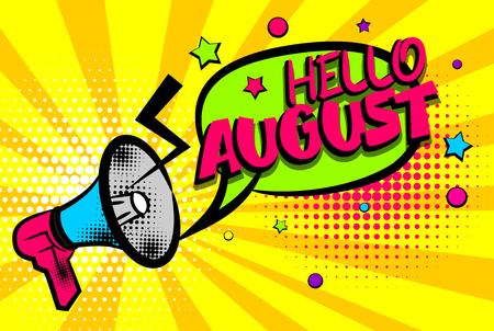 Hallo augustus komische tekst popart gekleurde zeepbel