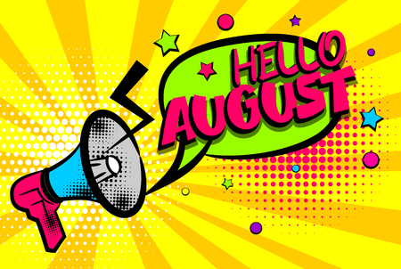 Hello august comic text pop art colored bubble
