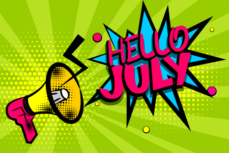 Hello july comic text pop art colored bubble