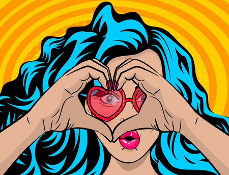 White young woman wow face blue hair pop art style show heart hands. Colored halftone retro dot background for comic text. Positive cartoon girl fashion kitch. Saint Valentine love poster banner