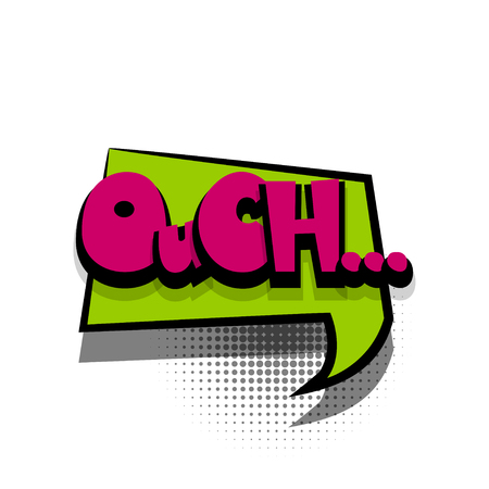 Comic text speech bubble phrase ouch