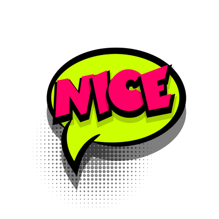 exclusive: Funny NICE comic book letters cartoon text dialog, colored cloud. Sale banner. Abstract creative hand drawn vector exclusive font bubble. Speech balloon on halftone dot background pop art style