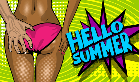 Summer Time lettering comic text font party poster card. White man hand hold bathing suit panties. Slim black sexy ass back cartoon woman. Vector colored halftone illustration. Star speech bubble. Illustration