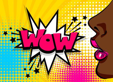 Ouvrez le rouge à lèvres sexy lèvres. Merveilleux visage de style pop art. Affiche de bande dessinée, fille afro-américaine noire de couleur parlant. Texte bande dessinée discours bulle illustration de polices vectorielles WOW. Bannière publicitaire de vente.