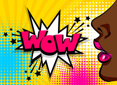 Open sexy lips lipstick. Wonder pop art style face. Cartoon vintage poster, colored black african american girl speaking. Speech bubble comic text WOW vector font illustration. Sale advertise banner.