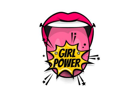 Pop art woman show tongue smile lips girl power, wow. Comics book balloon.