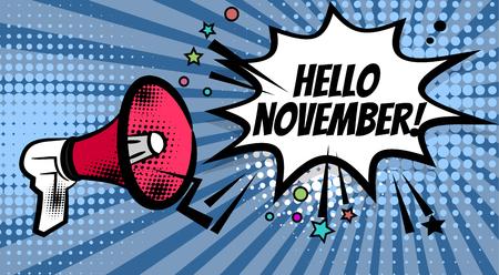 Megafoon pop hallo november Stock Illustratie