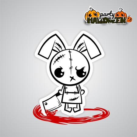 of helloween: Helloween evil bunny voodoo doll pop art comic