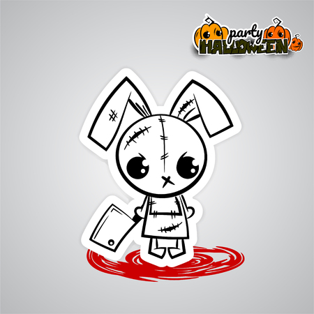 Ugly angry monochrome thread needle sewing voodoo doll. Vector illustration sticker paper. Halloween evil bunny rabbit knife, blade cartoon funny monster. Pop art wow comic book text poster party.