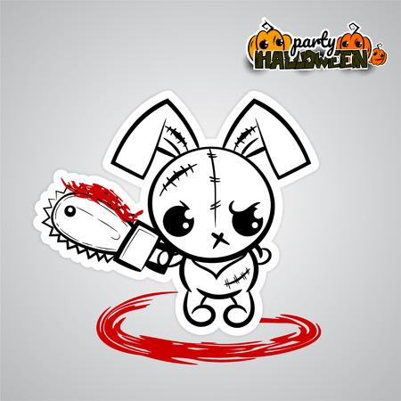 Brzydka gniewna monochromatyczna niciana igły szwalna voodoo lala. Halloweenowy zły królika królika kreskówki śmiesznego potwora elektryczna zobaczył krew. Pop artu wow komiksu strony tekstu. Ilustracji wektorowych naklejki papier.
