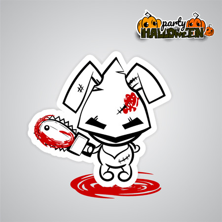 Vector illustration sticker paper. Halloween evil bunny rabbit cartoon funny monster electric saw blood. Pop art wow comic book text party. Ugly angry monochrome thread needle sewing voodoo doll.