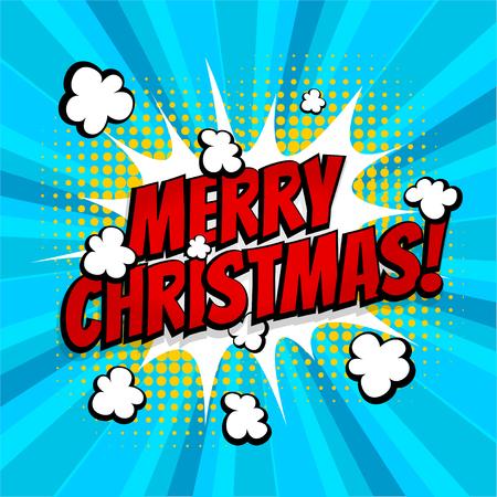 Merry Christmas pop art comic book text Illustration