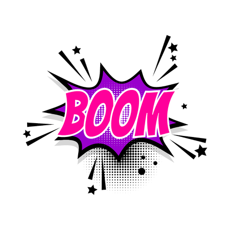 Comic text boom speech bubble pop art Иллюстрация