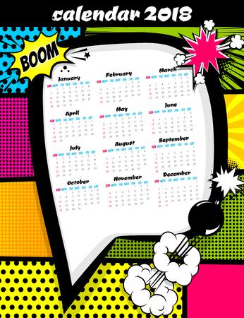 2018 calendar pop art template