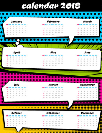 planner: Comic book colored halftone background, funny text speech bubble, balloon. Business planer scheduler date, number, days week month year. Vector illustration design. 2018 calendar pop art template. Stock Photo