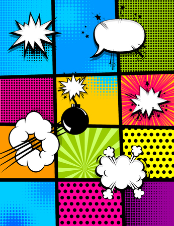 cartoon bomb: comic book pop art vertical back Illustration