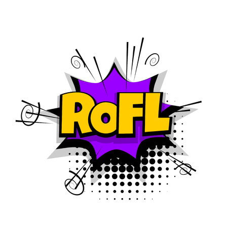 communication cartoon: Comic text phrase pop art rofl, lol, funny Illustration