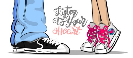 Pop art of man and woman sneakers with listen to your heart text
